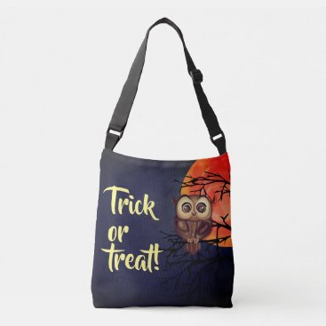 """""""Trick or treat"""" with blue baby owl Crossbody Bag"""