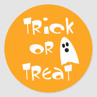 Trick Or Treat with Cute Ghost Classic Round Sticker