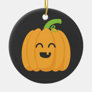 Trick or Treat with Cute Pumpkin for Halloween Ceramic Ornament