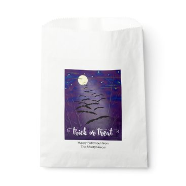 Halloween Themed Trick or Treat with Full Moon and Bats Halloween Favor Bag