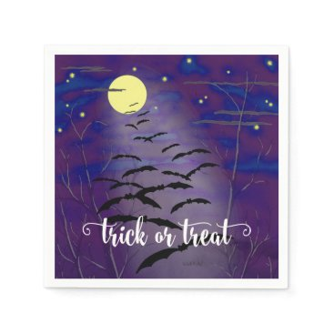 Halloween Themed Trick or Treat with Full Moon and Bats Halloween Paper Napkin