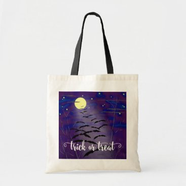 Halloween Themed Trick or Treat with Full Moon and Bats Halloween Tote Bag