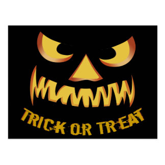 Trick or Treat with Pumpkin Face Postcard