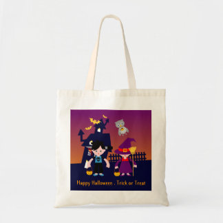 Trick or Treat with the zombie and the witch Tote Bag