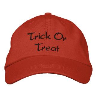 Trick or Treat wording Orange and Black Halloween Cap