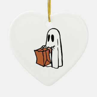 Trick or Treater Dressed as Ghost with Paper Bag Ceramic Ornament