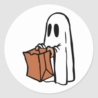Trick or Treater Dressed as Ghost with Paper Bag Classic Round Sticker