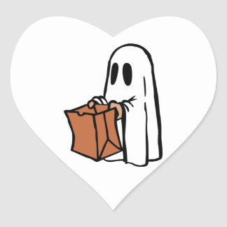 Trick or Treater Dressed as Ghost with Paper Bag Heart Sticker