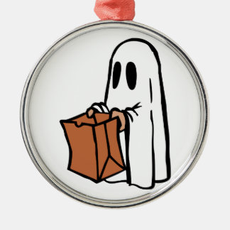 Trick or Treater Dressed as Ghost with Paper Bag Metal Ornament