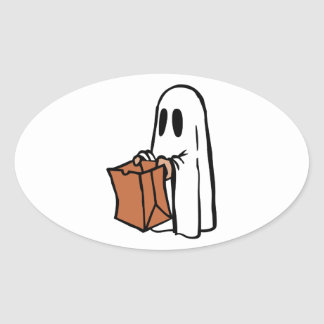 Trick or Treater Dressed as Ghost with Paper Bag Oval Sticker