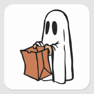 Trick or Treater Dressed as Ghost with Paper Bag Square Sticker