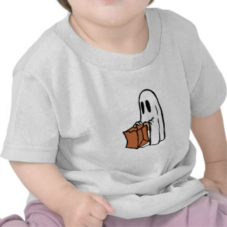 Trick or Treater Dressed as Ghost with Paper Bag Tshirts