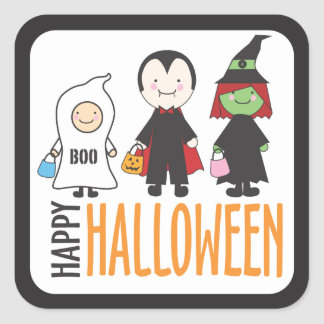 Trick or Treaters in Costume | Happy Halloween Square Sticker