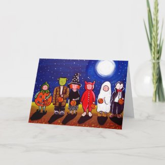 Trick or Treaters Under Full Moon card