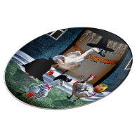 Trick or Treating Ducks Porcelain Plate