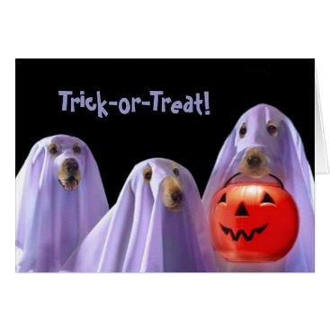 Halloween Themed Trick-or-Treating Ghost Dogs Halloween Card