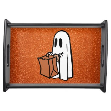 Halloween Themed Trick or Treating Ghost Orange Faux Glitter Serving Tray