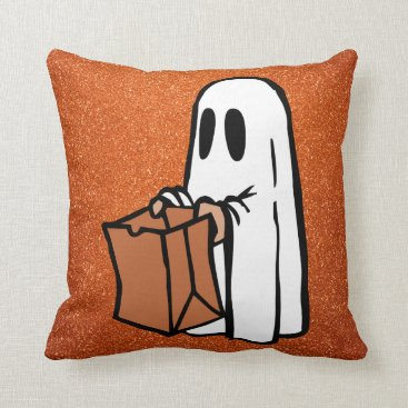 Halloween Themed Trick or Treating Ghost Orange Faux Glitter Throw Pillow