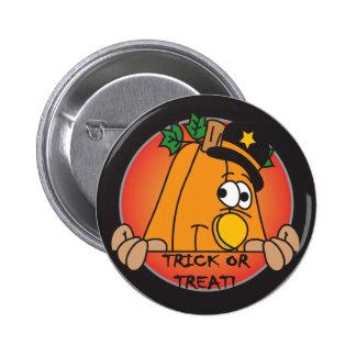 Trick or Trick Halloween Pumpkin Peeker Pinback Button