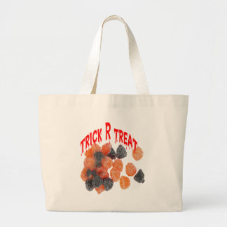 Trick R treat candy baq Large Tote Bag