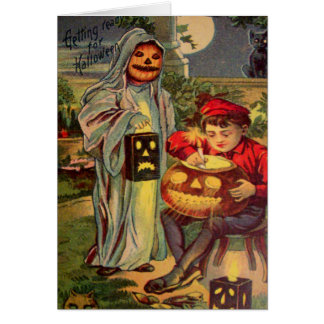 Trick R' Treat Ghost Jack O Lantern Pumpkin Greeting Card