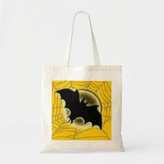 Trick treat bat moon spiderweb tote bag