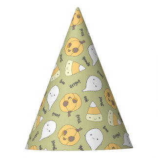 Trick Treat Boo Cute Halloween Pattern Party Hat