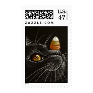 Trick with Treats! - Black Cat & Candy Corn Postage