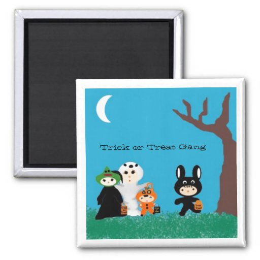 Trickortreatfriends, Trick or Treat Gang 2 Inch Square Magnet