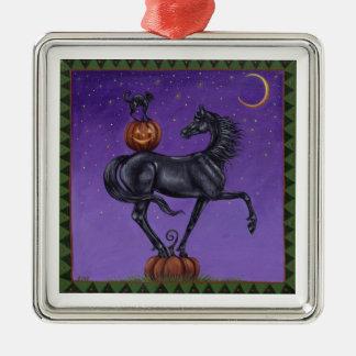 Tricks for Treats Horse and Black Cat Ornament