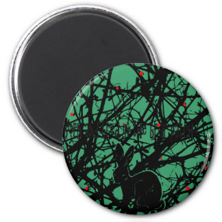 Trickster Rabbit in Briar Patch 2 Inch Round Magnet