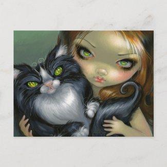 """Tricksy Tuxedo Cat"" Postcard"