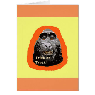 Tricky Monkey  Halloween Greeting Card