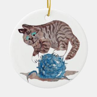 Tricky to Balance on a  Yarn Ball Ceramic Ornament