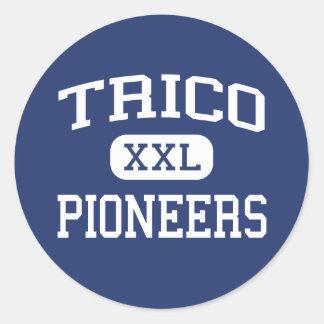Trico - pioneros - joven - colina Illinois de Pegatina Redonda