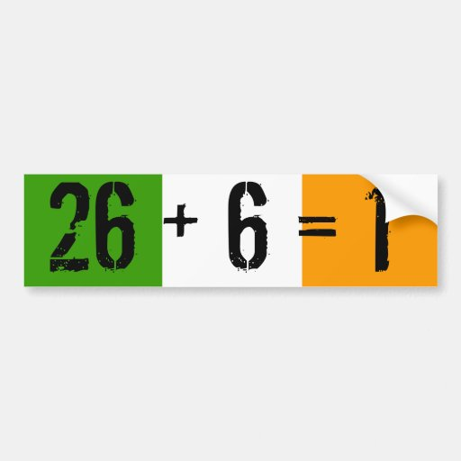 Tricolor, 26 + 6 = 1 car bumper sticker