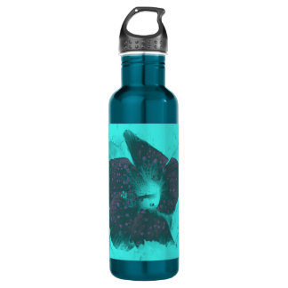 Tricolor Abstract Hibiscus Water Bottle