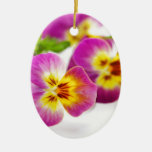 Tricolor | anniversary | flower | Pansy | cute | B Double-Sided Oval Ceramic Christmas Ornament