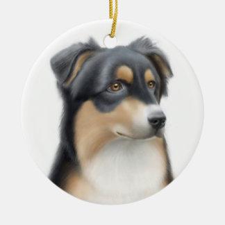 Tricolor Australian Shepherd Dog Ornament