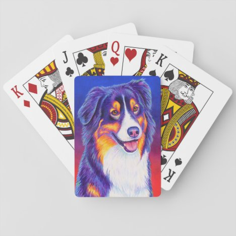 Tricolor Australian Shepherd Dog Playing Cards