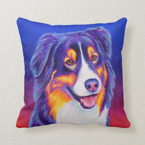 Tricolor Australian Shepherd Dog Throw Pillow