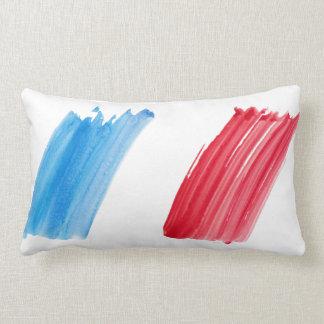 Tricolor banner France, watercolor painting art Lumbar Pillow