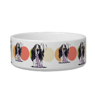 Tricolor Basset Hound Lets Play Bowl