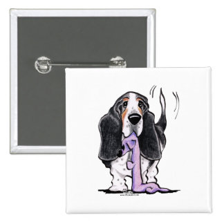 Tricolor Basset Hound Lets Play Pinback Buttons