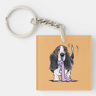 Tricolor Basset Hound Lets Play Single-Sided Square Acrylic Keychain