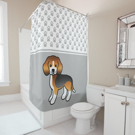 Tricolor Beagle Cute Cartoon Dog Paws Gray Shower Curtain