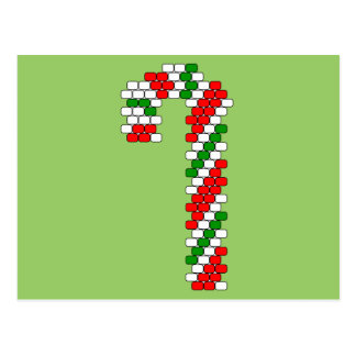 Tricolor Candy Cane Bead Pattern Postcard