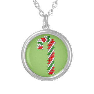 Tricolor Candy Cane Bead Pattern Round Pendant Necklace