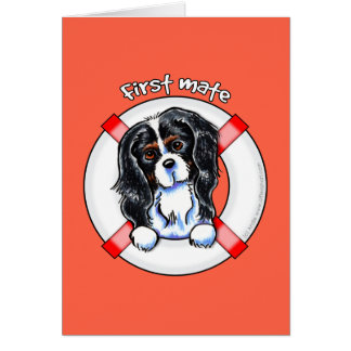 Tricolor Cavalier CKCS First Mate Greeting Cards