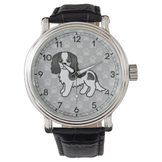 Tricolor Cavalier King Charles Spaniel Cartoon Dog Watch